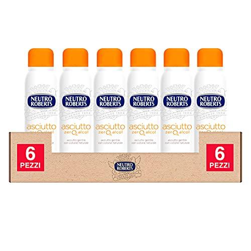 6x Neutro Roberts Deodorante Spray Asciutto Zero Alcol Efficace 48h Profumo Legno Cedro e Vaniglia - 6 Flaconi da 150ml ognuno