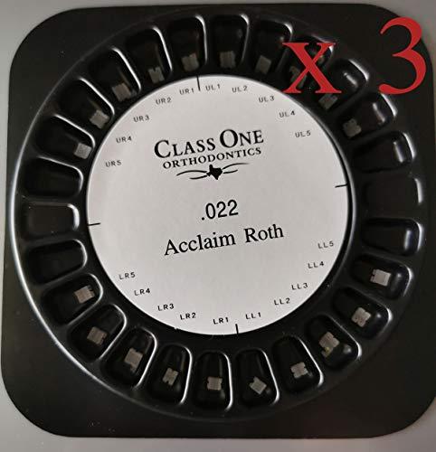 DENTALORTHO Dentale Attacchi Estetici Kit Staffa in Ceramica Super Trasparente Strumenti Di Correzione Ortodontica Roth 022 Hooks 3 (3 Kits = 60 Pezzi)