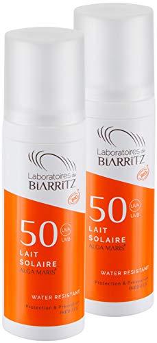 Confezione da 2 Laboratoires de Biarritz Alga Maris latte solare SPF50 100ml | certificati BIO | con protezione immediata e senza effetto sbiancante