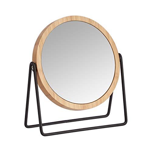Amazon Basics - Specchio cosmetico con cornice in bambù, ingrandimento 1x/5x