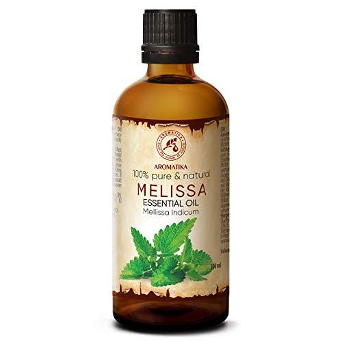 Oli di Melissa 100ml - Melissa Indicum - India - 100% Puro e Naturale Melissa Miglior Olio per Aromaterapia - Aroma Bath - Diffusore - Home Fragrance - Melissa Essential Oil