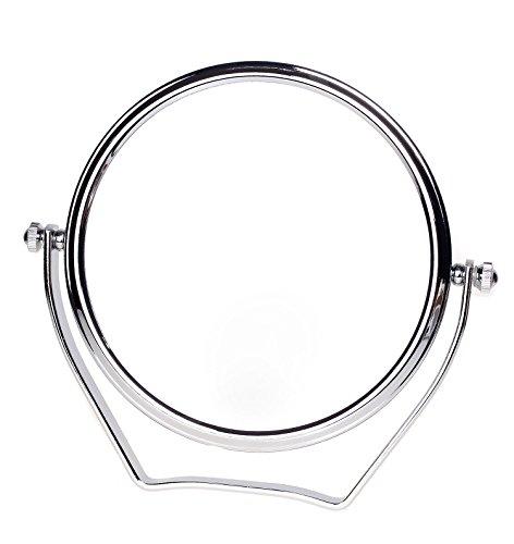 TUKA Specchio Cosmetico 10X Ingranditori, ø15,3 cm Doppia Faccia Specchi da Trucco Specchio da Tavolo cromato, 6' Specchio borsa per casa o viaggio, Specchio Bagno per Trucco e Rasatura, TKD3102-10x