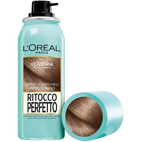 L'Oréal Paris Ritocco Perfetto, Spray Istantaneo Correttore per Radici e Capelli Bianchi, Colore: Castano, 75 ml