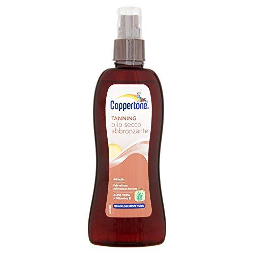Coppertone, Tanning Olio Secco Abbronzante, Formula Idratante e Antisabbia, Abbronzatura Intensa, con Aloe Vera, Antinvecchiamento, 200 ml