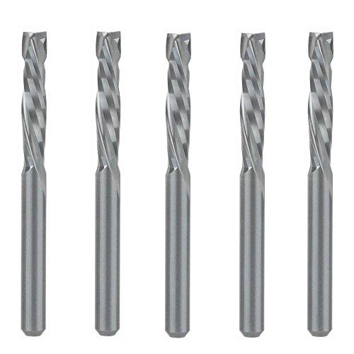 EU_HOZLY, punte per fresa verticale a compressione per legno, per intaglio verso l'alto e verso il basso, strumento in carburo con due scanalature a spirale per CNC, da 3,175x 17mm, confezione da 5