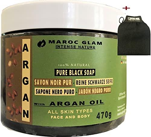 Peeling - Sapone nero marocchino con olio di ARGAN biologico da 470 g + guanto esfoliante marocchino Kessa, 100% naturale di olio di argan, antirughe, ricco di vitamina E, HAMMAM & SPA, Marocco GLAM