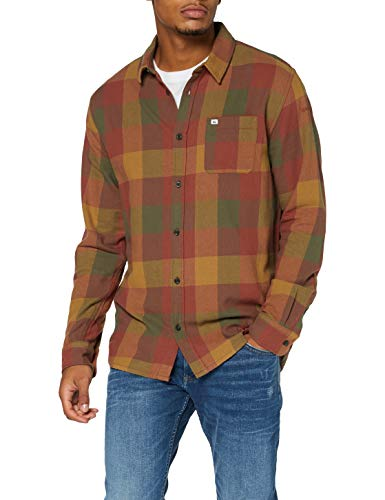 Quiksilver Z0OL0 Motherfly Flannel - Camicia A Maniche Lunghe da Uomo Camicia A Maniche Lunghe, Uomo, Henna Motherfly, L