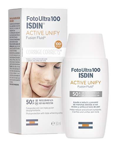 FotoUltra100 ISDIN Active Unify SPF 50+ 50ml | Schiarisce e uniforma l'incarnato | Fotoprotettore con triplice azione depigmentante