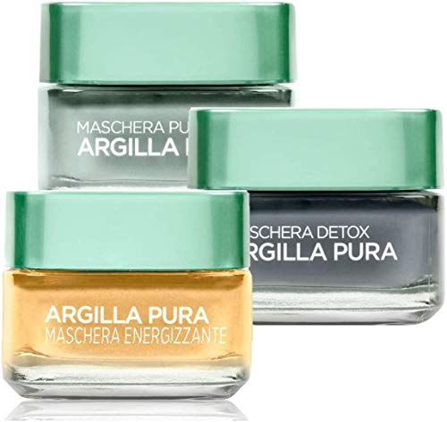 L'Oréal Paris Kit Maschere Viso Argilla Pura, Maschera Blu Anti-Imperfezioni + Maschera Gialla Illuminante + Maschera Nera Detox, 100 ml, Confezione da 3