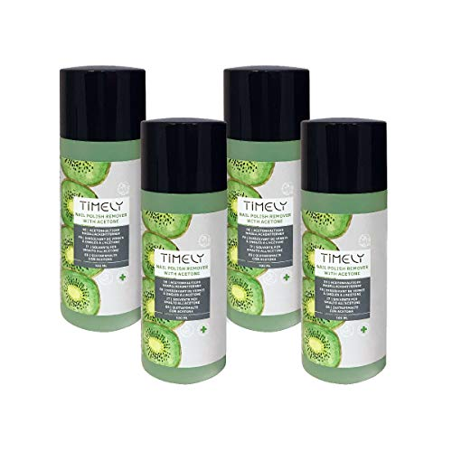 Timely, solvente per unghie a base di acetone, ad azione rapida, al profumo di kiwi, confezione da 4 x 100 ml