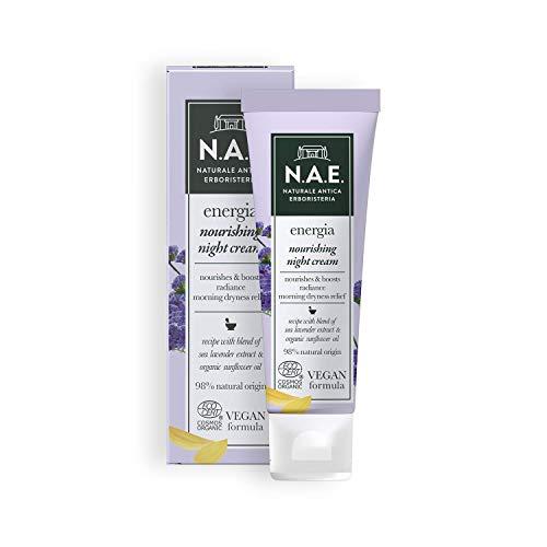 N.A.E. Crema Nutriente Notte Energia, Crema Viso con Estratto di Lavanda di Mare ed Olio di Girasole Biologico, Formula Vegana, 50 ml