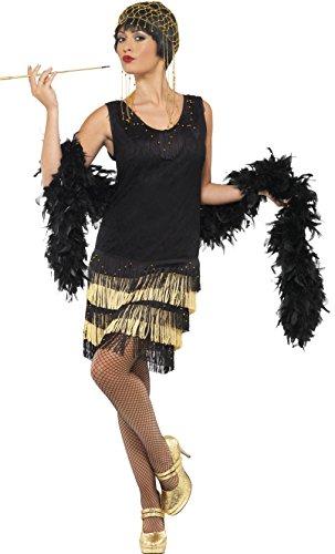 Smiffys 1920s Costume da flapper con frange, nero, M