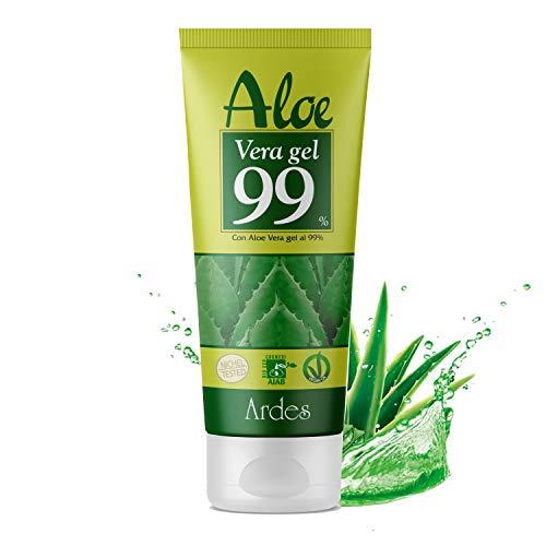 Aloe Vera Gel Biologico Puro 99% Naturale Protettivo Per Viso Corpo Capelli Adatto a Tutti i Tipi di Pelle Secche Screpolate Irritate Stressate da Agenti Esterni Rinfresca Rigenera Non Unge 200 ML