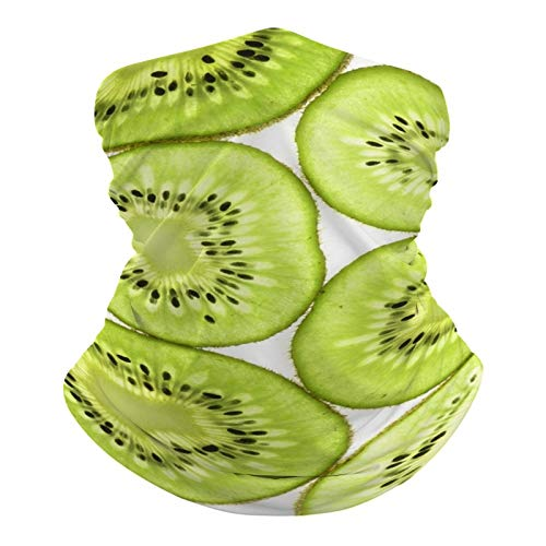 Dke & YMQ - Scaldacollo multifunzionale a bandana con tubo elastico, per yoga, corsa, escursionismo, ciclismo, verde, cibo, giallo, kiwi, frutta e prodotti neri