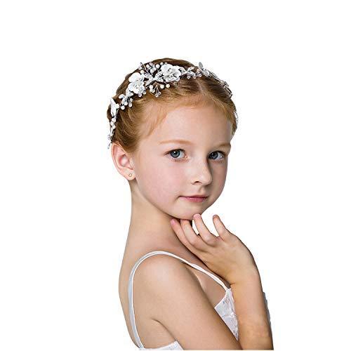 Chie no fukuro Fascia Nozze per Capelli con Perline e Strass, Accessori per Capelli da Flower Girl Fascia Argento Lavorati a Mano