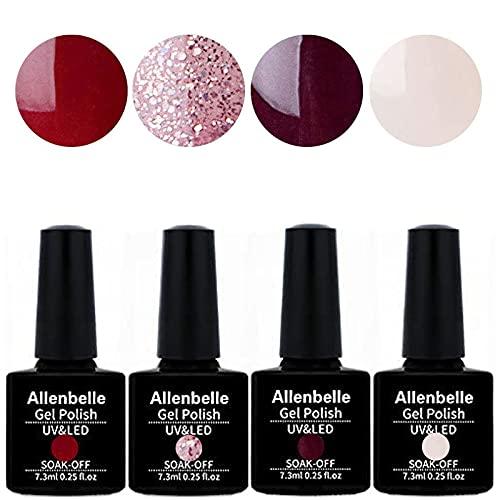 Allenbelle Smalto Semipermante Per Unghie Kit In Gel Uv Led Smalti Semipermanenti Per Unghie Nail Polish UV LED Gel Unghie (044)