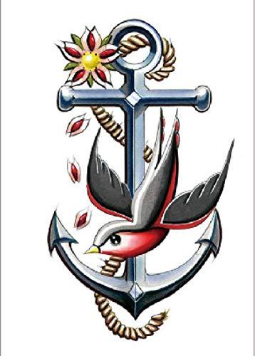 Ancoraggio Per Uccellino Adesivo Per Tatuaggi Temporanei Per Uomo Adulto Donna Bambini Impermeabile Finto Body Art Cover Up Set Anchor Graphic 21X15Cm 5 Pcs