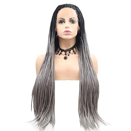 yamysalad Parrucca da Donna Parrucca per Capelli Lunghi con Treccia Sfumata Nero-Grigio Parrucca Europea per Parrucca Fatta a Mano in Pizzo da Donna