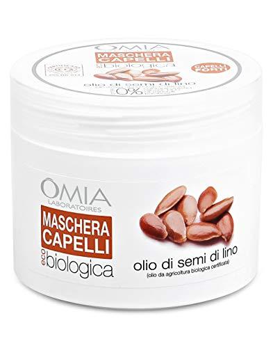 Omia Maschera per Capelli Eco Bio con Olio di Semi di Lino, Trattamento Ristrutturante per Capelli Fragili, 250 ml