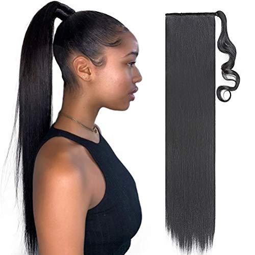 80cm Coda di Cavallo Clip in Hair Extension Capelli Lisci Parrucchino Ponytail Wrap around Estensioni Naturale Lungo Nero scuro