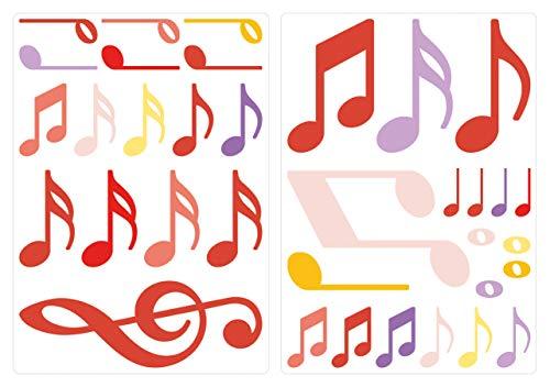 dekodino® Adesivo murale note musicali zafferano set di decorazione