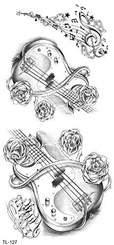 Tatuaggio per chitarra, motivo musicista, con chiave di violino, TL127