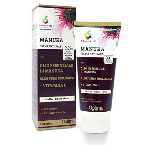 Colours of Life - Crema Naturale Purificante e Antisettica - con Aloe Vera Biologica, Vitamina E e Manuka - Ideale per Scottature e Punture di Insetti - Formato da 100 ml
