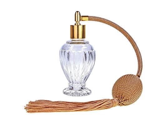 Atomizzatore di profumo con nappa, colore: Oro, da 46 ml. Imbuto e confezione regalo inclusi (GF).