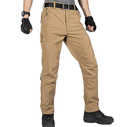 FREE SOLDIER Pantaloni da Lavoro da Uomo per attività All'aperto Pantaloni Softshell Sci Termici Impermeabile Pantaloni Trekking Invernali Pantaloni da Caccia(Colore Fango,54)