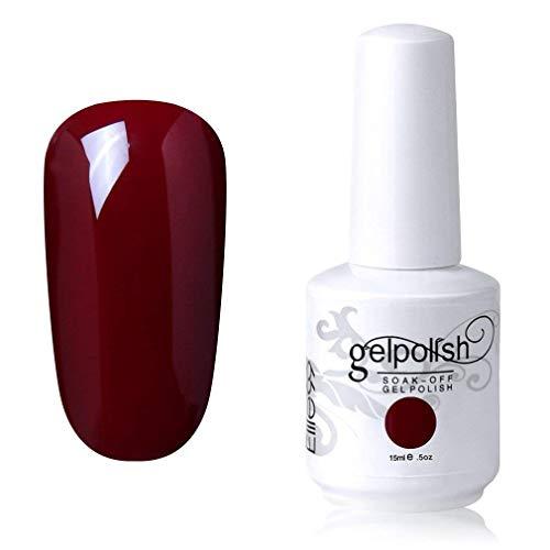 Elite99 Smalto Semipermente per Unghie in Gel UV LED Smalti per Unghie Soak Off per Manicure Rosso Scuro 15ML - 1577