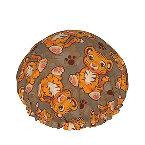 Cuffia da doccia Lil 'Tiger Cuffia da bagno elastica impermeabile a doppio strato Cuffia da notte per uso domestico