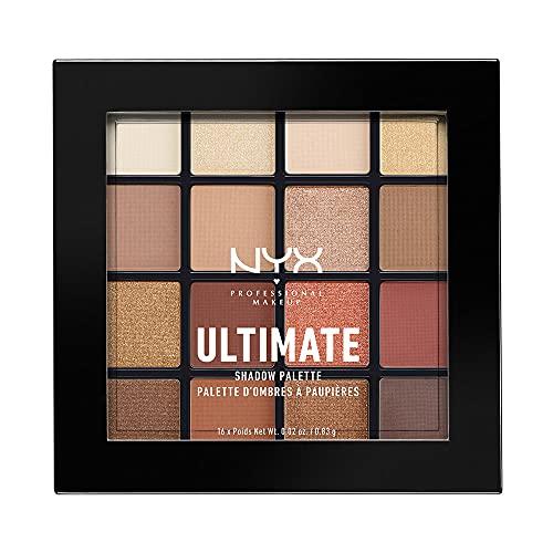 NYX Professional Makeup Palette Ombretti Ultimate Shadow Palette, Pigmenti Pressati, 16 Tonalità, Effetto Opaco, Satinato, Metallico, Warm Neutrals, Confezione da 1