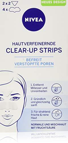 Nivea, Clear-Up Strips viso, per la rimozione di punti neri e impurità, 6 pz, 4 x naso e 2 x fronte [Tedesco]