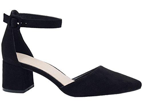 Greatonu - Sandali da donna a punta media con tacco alla caviglia e cinturino, Nero (Nero ), 39 EU