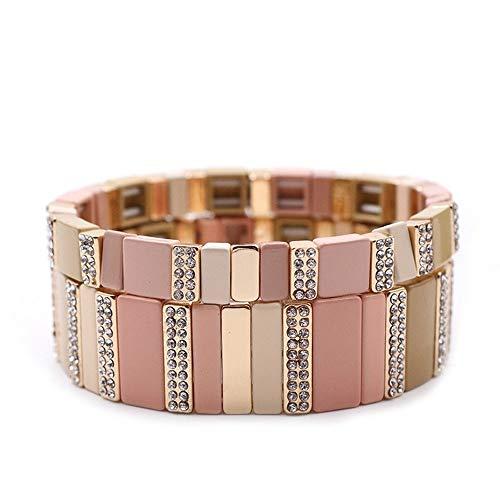 2 PCS Smalto Piastrelle Bracciali impilabile Smalto elastico Tile Colorblock Braccialetti Braccialetti braccialetto del filo per la signora Women & Ragazze