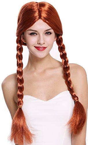 WIG ME UP - 90958-ZA131 Parrucca Donna Carnevale Due trecce Riga in Mezzo Rosso 60 cm