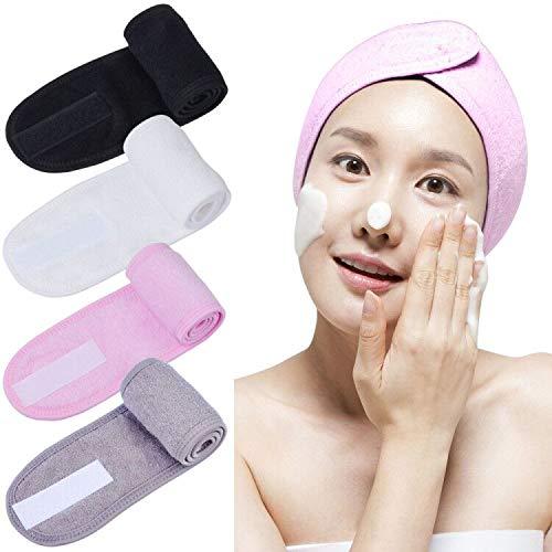 Sunallwell - Fascia per capelli per viso, 4 pezzi, in spugna con nastro magico per bagno, trucco e sport