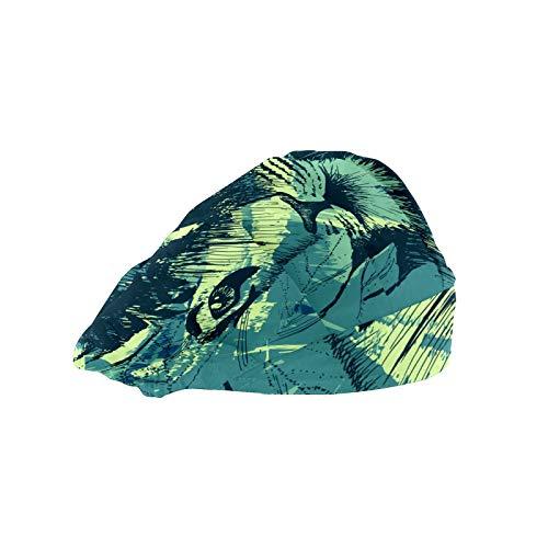 ASIGA - Cappellino da lavoro da donna con fascia in cotone, regolabile, elastico per capelli grunge-Wild-Tiger
