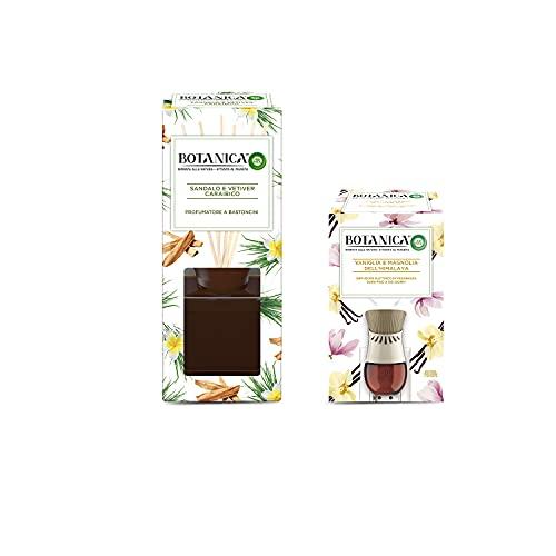 Airwick Botanica, Profumatore per Ambienti con Diffusore a Bastoncini, fragranza Sandalo e Vetiver Caraibico, fragranza naturale - Confezione da 80 ml + Botanica Diffusore di Oli Essenziali Elettrico