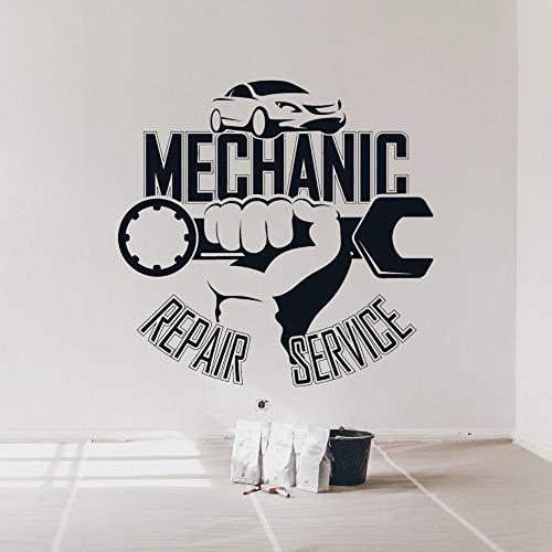 Servizio di riparazione auto auto meccanico chiave inglese logo segno garage stazione di riparazione officina vinile adesivo da parete decalcomania race club studio home decor murale
