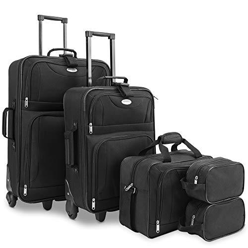 Deuba valigie set 5pz bagaglio trolley valigia borsa da viaggio beauty case sistema cinghie a scatto impilabili nero