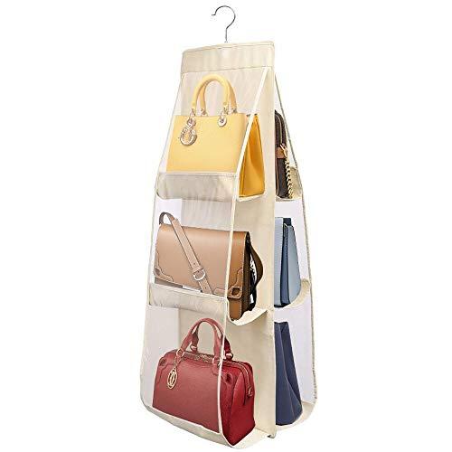 PIKACHENG Organizer per borsette da appendere,Borsa organizzatore Armadio con Gancio 6 Tasche Traspiranti Storage Bag,custodia trasparente antipolvere per armadio guardaroba(giallo chiaro)