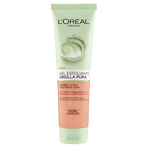L'Oréal Paris Detergenza Argilla Pura Gel Esfoliante Viso, Deterge, Leviga la Pelle e Restringe i Pori, 150 ml