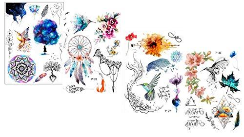 4 fogli di tatuaggi finti con fiori, tatuaggi acchiappasogni, tatuaggi, tatuaggi, colori Dream Set 2