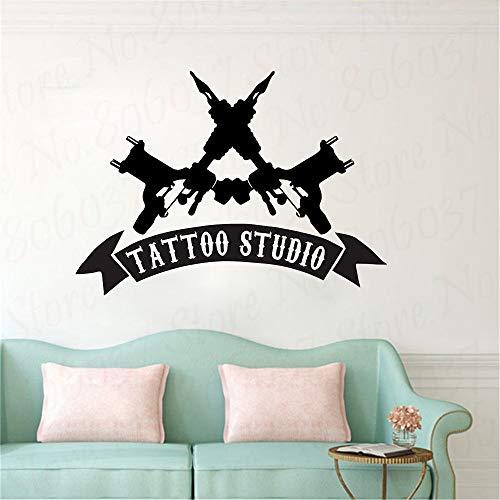 yaofale Tattoo Studio Sign Logo Decalcomania da Muro Negozio Commerciale Adesivo per Porte e finestre Tatuaggio Macchina Pittura murale Poster in Vinile