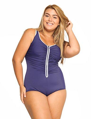 DELIMIRA Donna Costume da Bagno Coppe con Imbottite Cerniera Frontale Blu Navy 50
