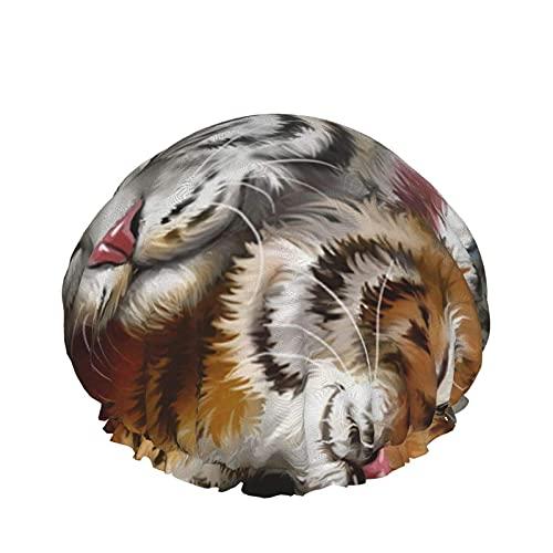 Cuffia da doccia Aquarell Tiger Mund Cuffia da bagno elastica impermeabile a doppio strato Cuffia da notte per uso domestico