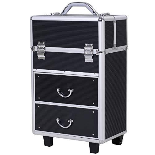 HOMCOM Valigia Porta Trucchi Professionale, Trolley Make up da Viaggio in Alluminio, 2 Ruote, Nero (36x23x58-103cm)