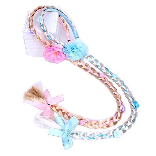 Comius Sharp 2 pezzi Rapunzel Princess Parrucca fascia per capelli Accessori per abiti Parrucca per ragazze Trecce Regalo per bambini per Festa di compleanno Cosplay con fiori artificiali