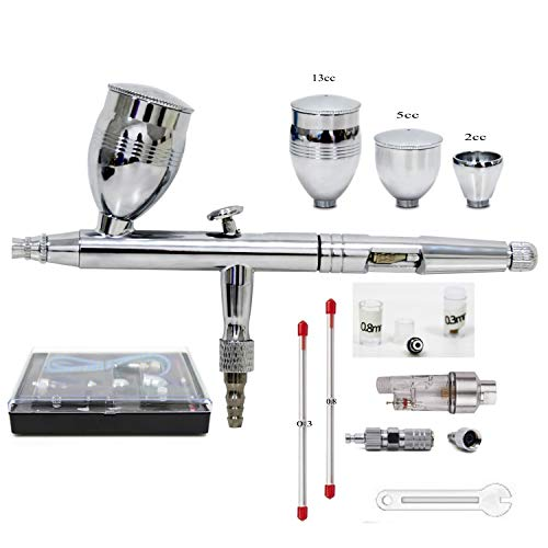 ZHONG AN Pistola aerografo Kit Professionale 0.3mm 0.5mm 0.8mm,Doppia Regolazione Esterna, per Tatuaggi artistici, la più recente